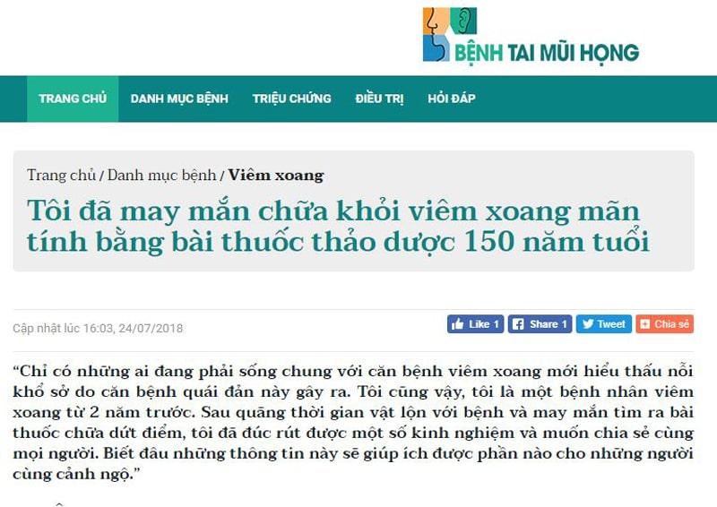 Câu chuyện chữa lành viêm xoang của bác Kha được chia sẻ trên chuyên trang Benhjtaimuihong.net