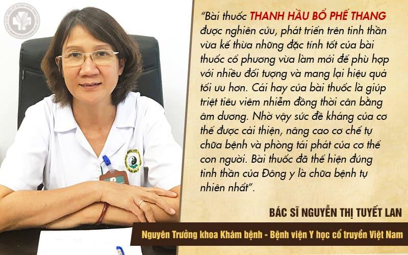 Nhận định về bài thuốc Thanh Hầu Bổ Phế Thang của bác sĩ Tuyết Lan