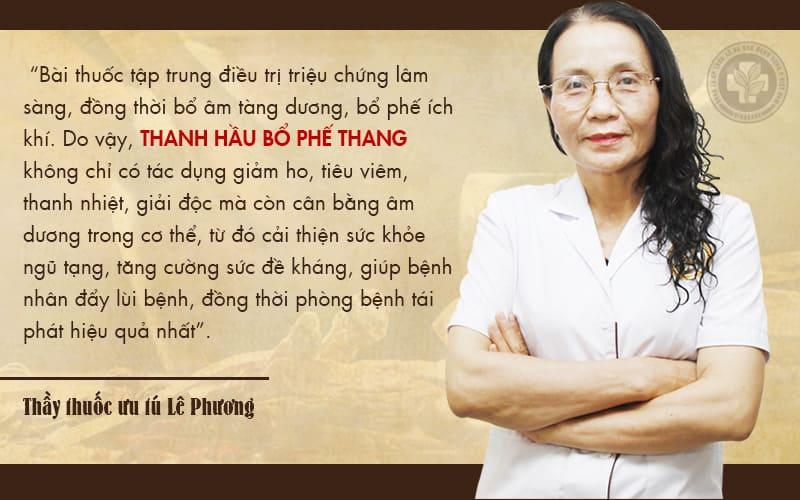 Bác sĩ Lê Phương nhận định về bài thuốc Thanh Hầu Bổ Phế Thang