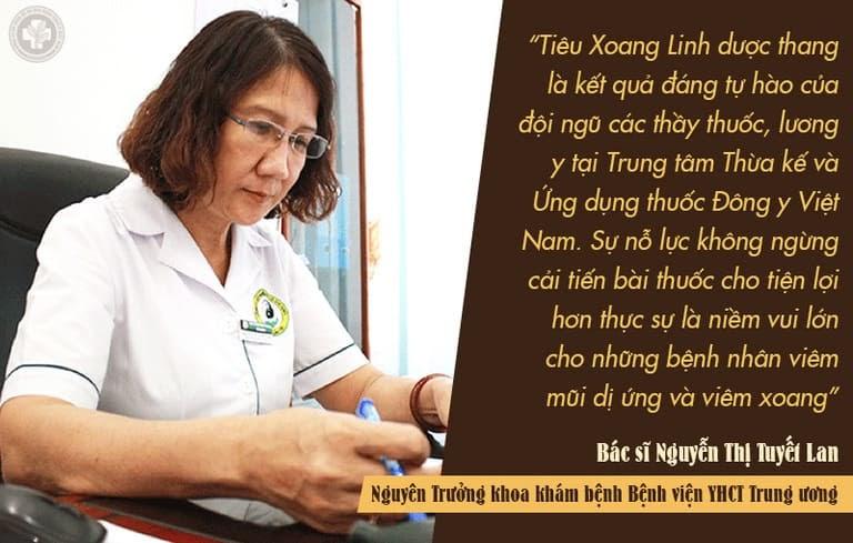 Bác sĩ Tuyết Lan nhận xét về Tiêu Xoang Linh Dược Thang