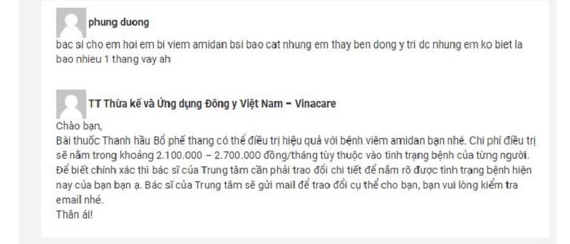Chi phí khám chữa viêm amidan tại Trung tâm Đông y Việt Nam