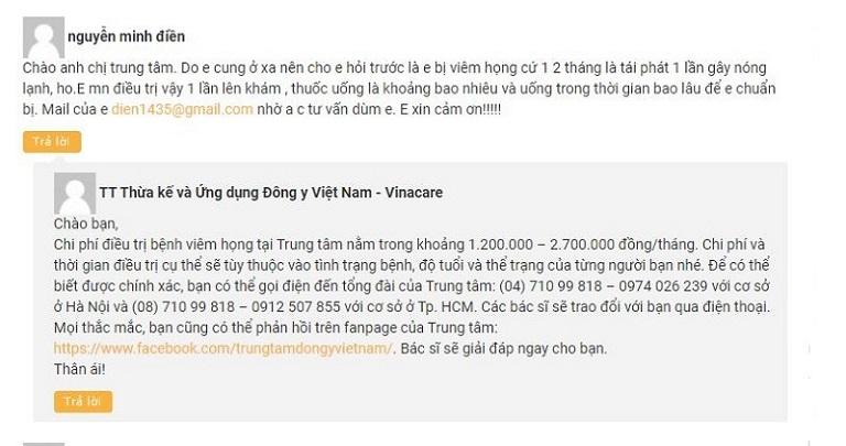 Chi phí dịch vụ chữa viêm họng tại Trung tâm Đông y Việt Nam