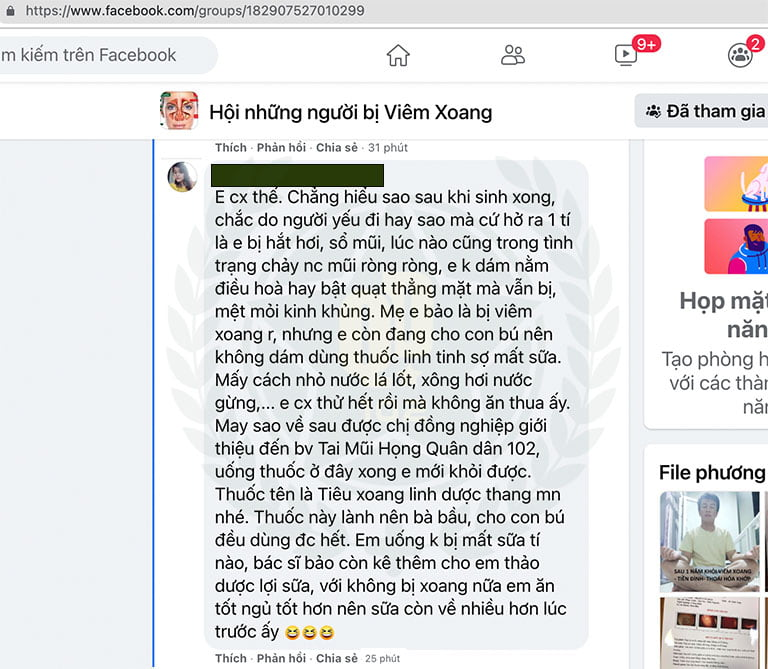 Người bệnh chia sẻ về hiệu quả của Tiêu xoang linh dược thang trên Facebook