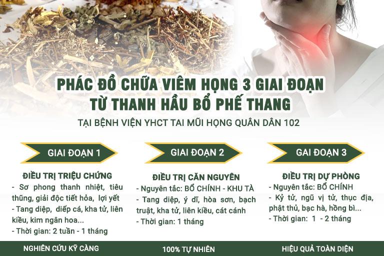 Phác đồ chữa viêm họng 3 giai đoạn hiệu quả TOÀN DIỆN từ Thanh Hầu Bổ Phế Thang