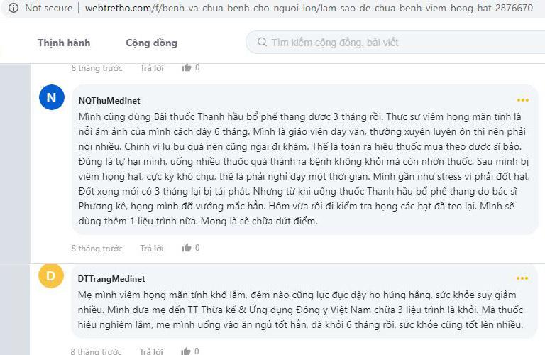 Bệnh nhân viêm họng mãn tính phản hồi về bài thuốc Thanh Hầu Bổ Phế Thang trên webtretho