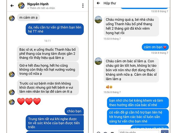 Những phản hồi trực tiếp của bệnh nhân về Thanh Hầu Bổ Phế Thang