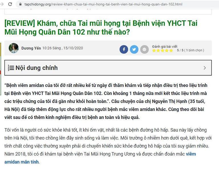 Bệnh nhân review về kết quả điều trị viêm amidan tại Bệnh viện Tai Mũi Họng Quân Dân 102