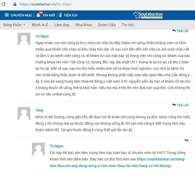 Một phụ huynh trị bệnh cho con tại bác sĩ Lê Phương chia sẻ trên trang soytebackan.vn