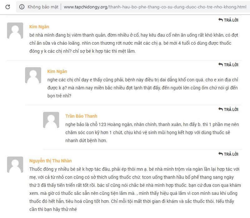 Đánh giá về bài thuốc Thanh hầu bổ phế thang của phụ huynh chữa viêm phế quản cho con trên tapchidongy.org