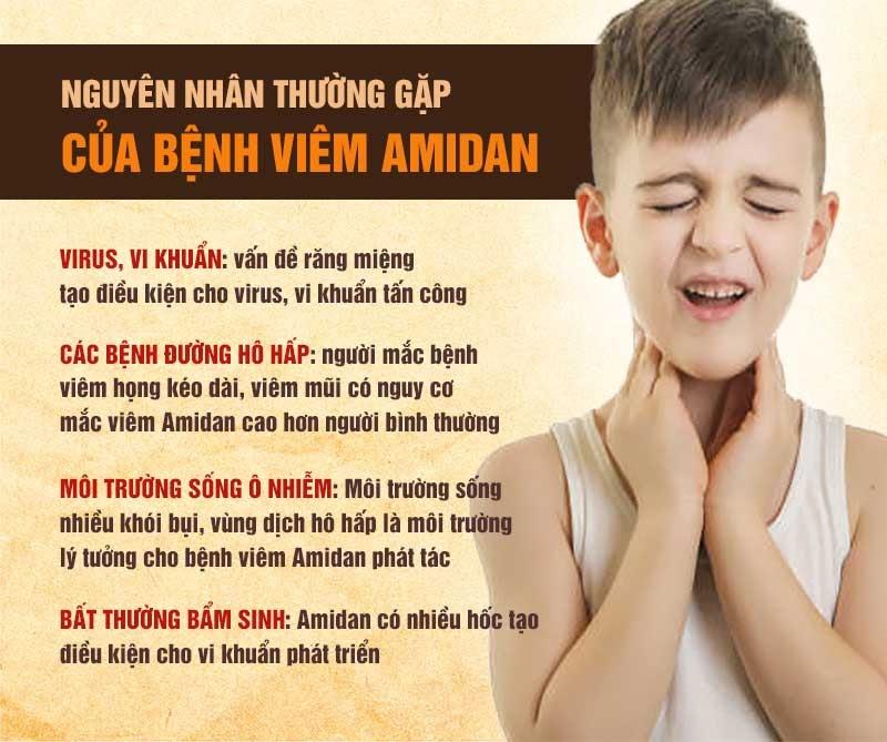 Có nhiều nguyên nhân gây viêm amidan