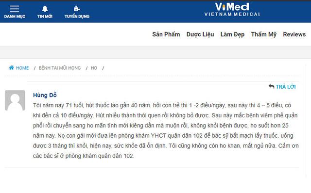 Một số phản hồi của bệnh nhân chữa ho tại Quân dân 102